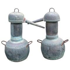 19th Century Pair of Spanish Galician Copper Spirit Stills