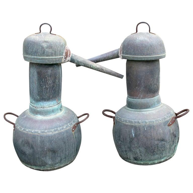 19th Century Pair of Spanish Galician Copper Spirit Stills For Sale