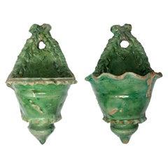 19th Century Pair of Spanish Green Glazed Ceramic Wall Hanging Pots