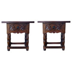 19th Century Pair of Spanish Nightstands with Carved Drawer and Iron Hardware