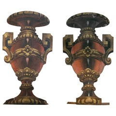 19th Century Pair of Spanish Vases Painted on Wood