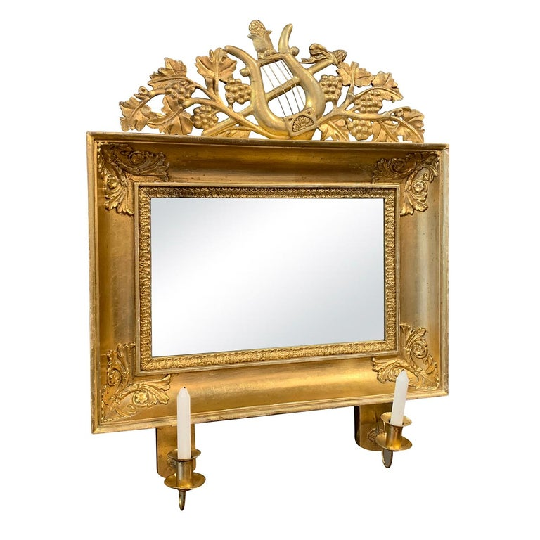 Gustavian 19th Century Swedish Pair of Gilded Wood Wall Mirrors For Sale