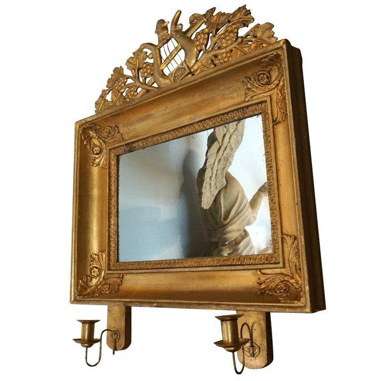 19th Century Swedish Pair of Gilded Wood Wall Mirrors For Sale 1