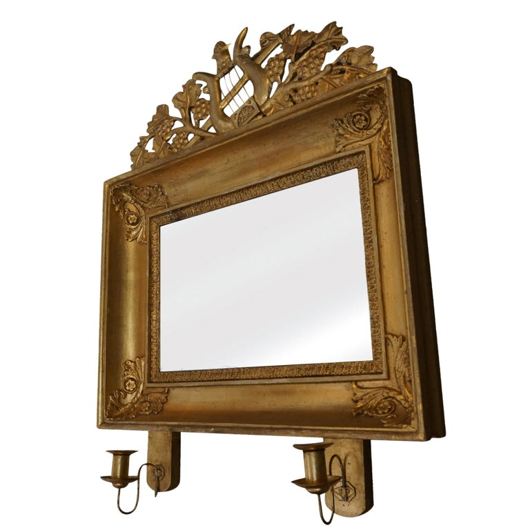 19th Century Swedish Pair of Gilded Wood Wall Mirrors In Good Condition For Sale In West Palm Beach, FL