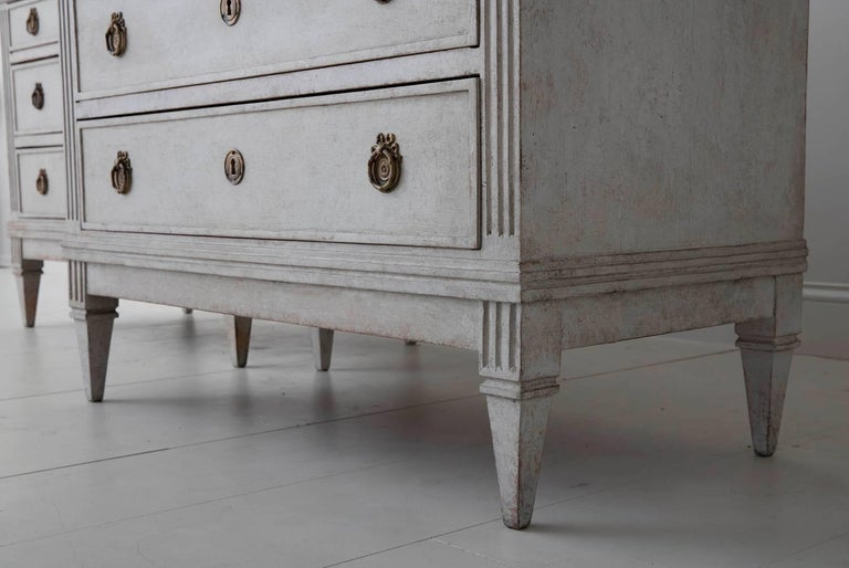 Brass 19th Century Pair of Swedish Gustavian Bedside Commodes with Marbleized Tops For Sale