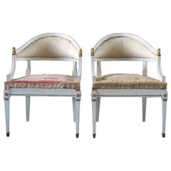 19th Century Pair of Swedish Gustavian Bronze Armchairs, Pinewood Side Chairs