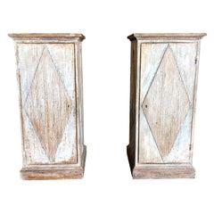 19th Century Pair of Swedish Gustavian Pedestals, Oakwood Chest of Drawers