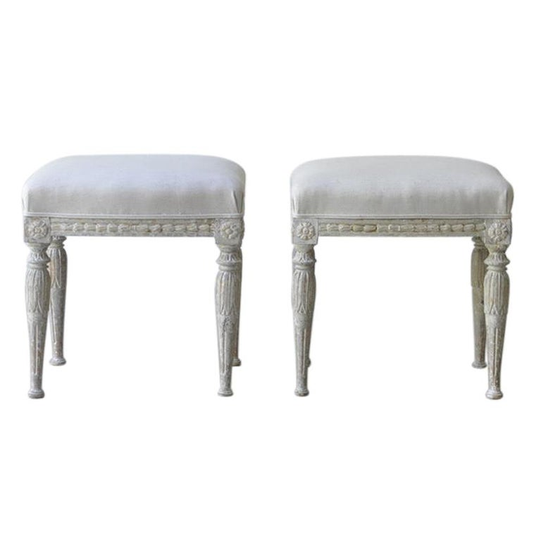 19th Century Pair of Swedish Gustavian Period Stool in Original Paint For Sale