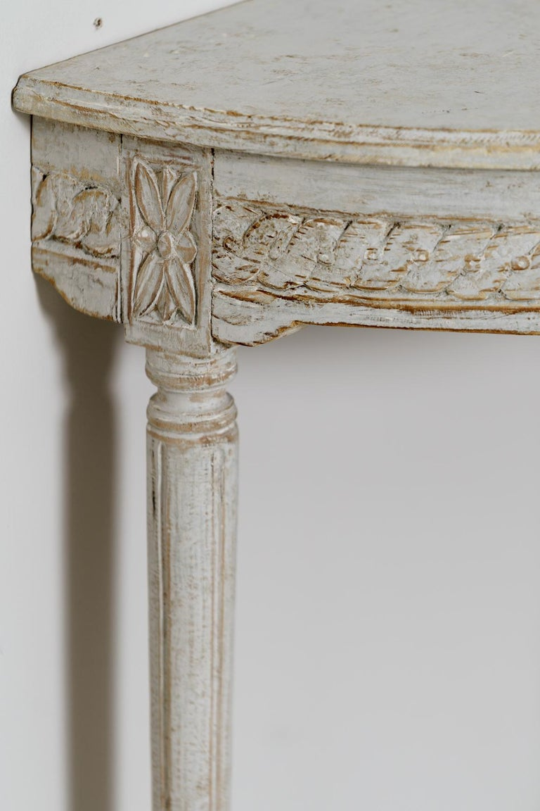 19th Century Pair of Swedish Gustavian Style Demi Lune Console Tables For Sale 5