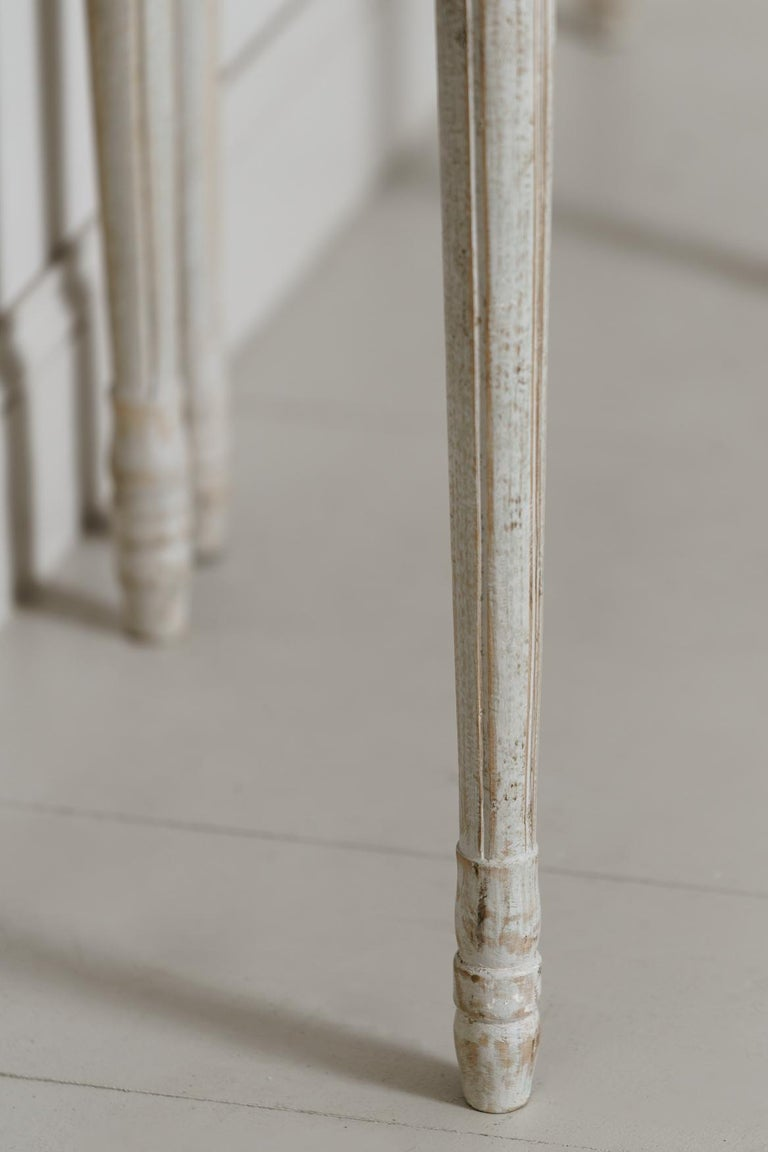 19th Century Pair of Swedish Gustavian Style Demi Lune Console Tables For Sale 6
