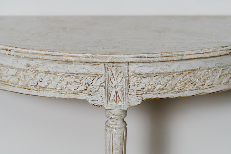 Hand-Crafted 19th Century Pair of Swedish Gustavian Style Demi Lune Console Tables For Sale
