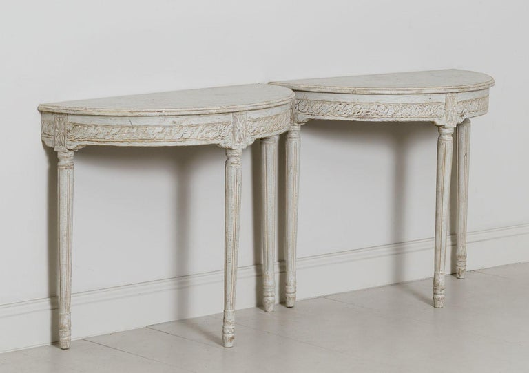 19th Century Pair of Swedish Gustavian Style Demi Lune Console Tables In Good Condition For Sale In Wichita, KS