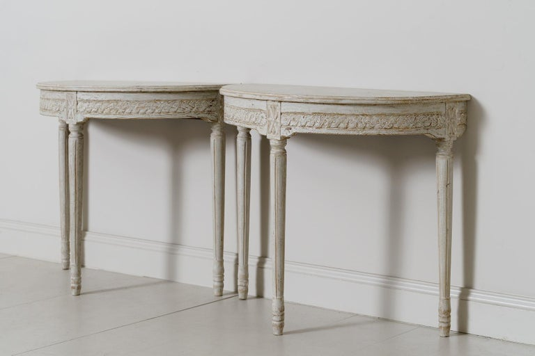 Wood 19th Century Pair of Swedish Gustavian Style Demi Lune Console Tables For Sale