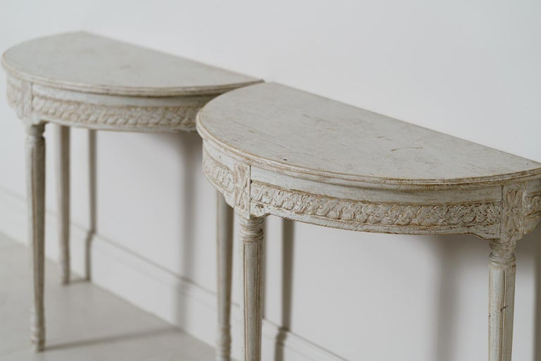 19th Century Pair of Swedish Gustavian Style Demi Lune Console Tables For Sale 1