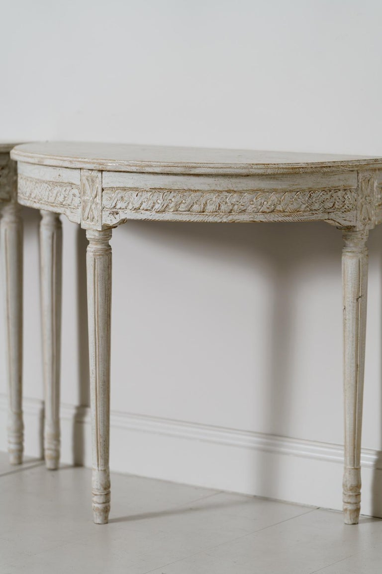 19th Century Pair of Swedish Gustavian Style Demi Lune Console Tables For Sale 2