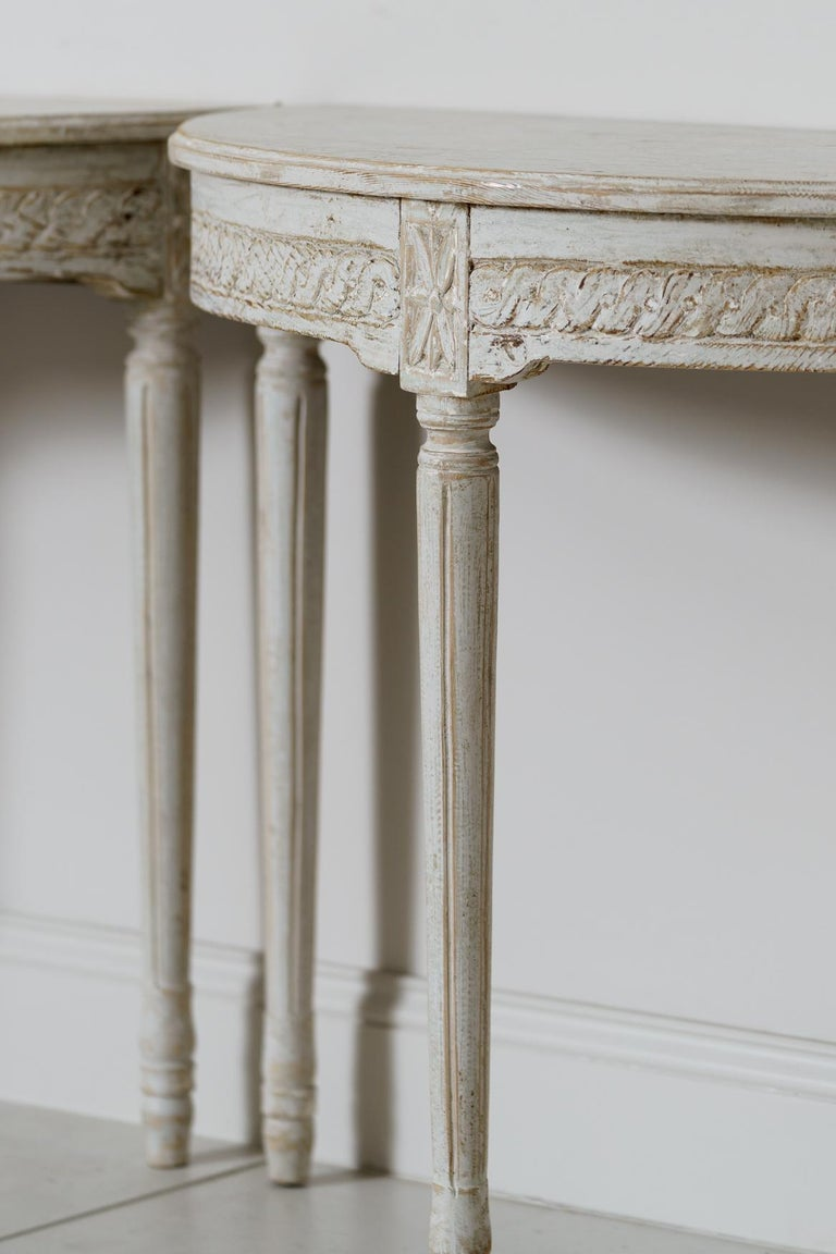 19th Century Pair of Swedish Gustavian Style Demi Lune Console Tables For Sale 3