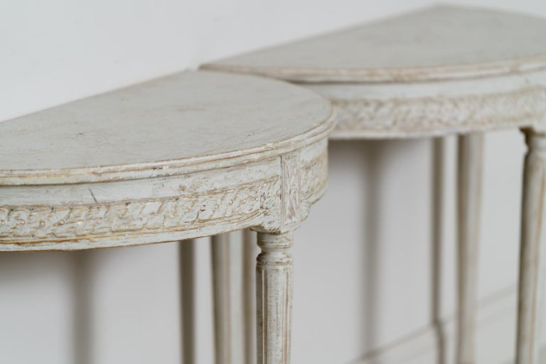 19th Century Pair of Swedish Gustavian Style Demi Lune Console Tables For Sale 4