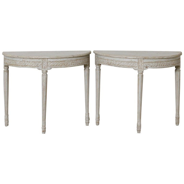 19th Century Pair of Swedish Gustavian Style Demi Lune Console Tables For Sale