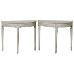 19th Century Pair of Swedish Gustavian Style Demilune Console Tables