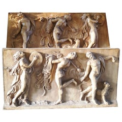 19th Century Pair of Terracotta Bas Relief Panels Depicting Allegorical Scenes