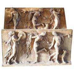 19th Century Pair of Terracotta Bas Relief Panels Depicting Allegorical Scenes