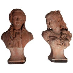 19th Century Pair of Terracotta Buste of Mozart and Constance