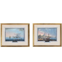 19th Century Pair of the Bay of Naples Gouache Paintings