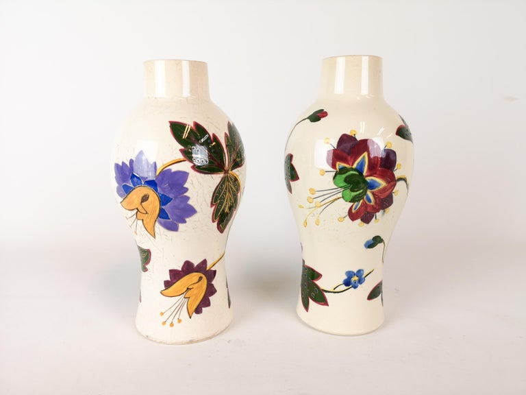 19th Century Pair of Vases Art Nouveau Gustavsberg, Sweden In Fair Condition For Sale In Langserud, SE