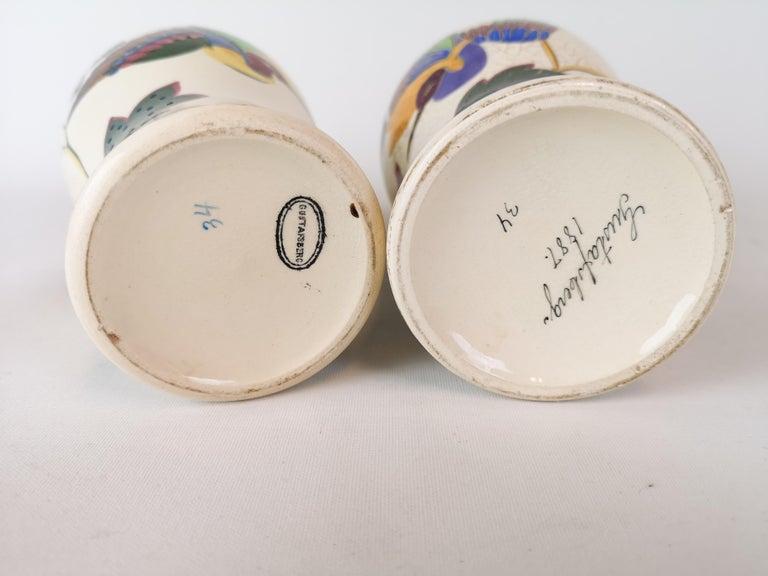 19th Century Pair of Vases Art Nouveau Gustavsberg, Sweden For Sale 3