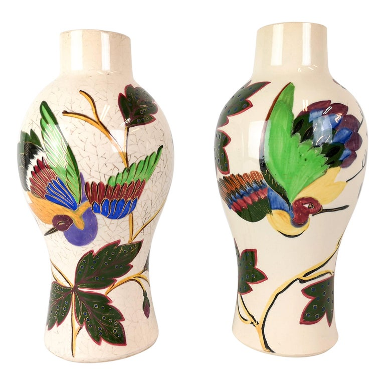 19th Century Pair of Vases Art Nouveau Gustavsberg, Sweden For Sale