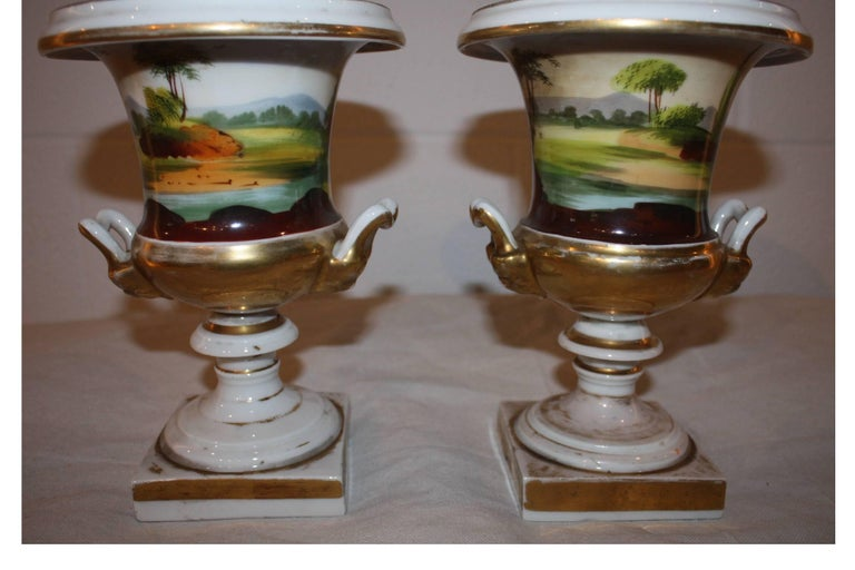 Polychromed 19th Century Pair of Vases