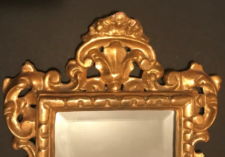 Baroque 19th Century Pair of Venetian Hand-Carved, Gilded Mirrors, Italy For Sale