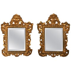 19th Century Pair of Venetian Hand-Carved, Gilded Mirrors, Italy