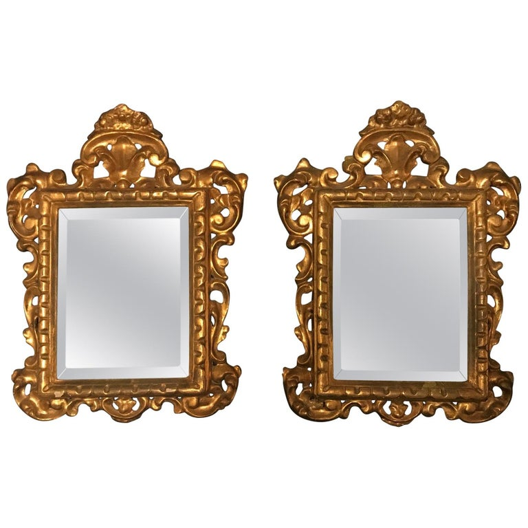 19th Century Pair of Venetian Hand-Carved, Gilded Mirrors, Italy For Sale