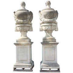 19th Century Pair of Very Tall French Monumental Urns in Limestone