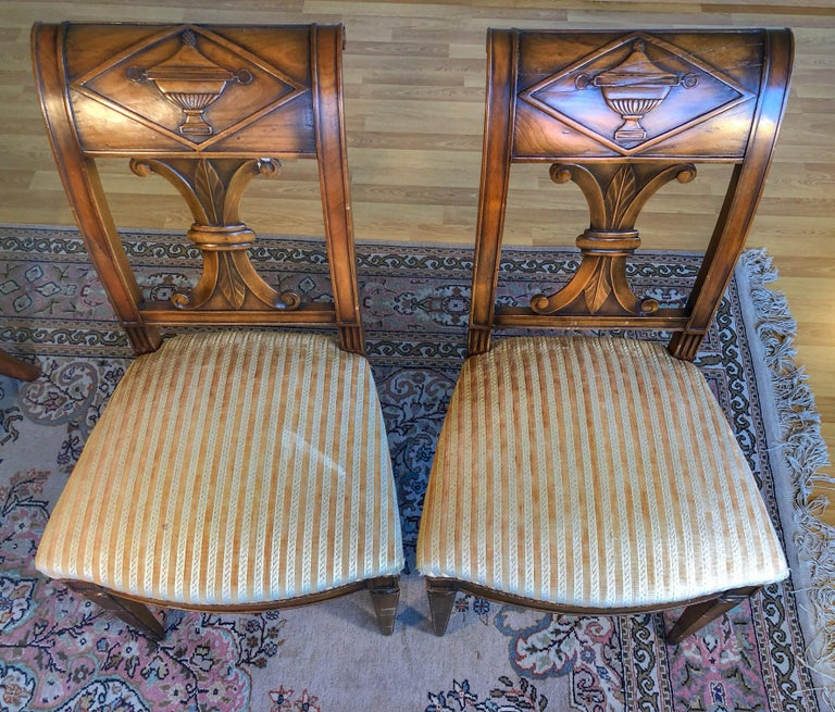 Hand-Carved SALE Pair of Wooden Neoclassical Empire Side Chairs Biedermeier ON SALE  For Sale