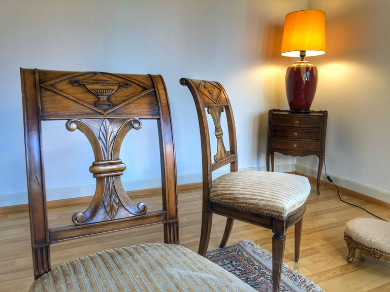 SALE Pair of Wooden Neoclassical Empire Side Chairs Biedermeier ON SALE  In Good Condition For Sale In London, GB