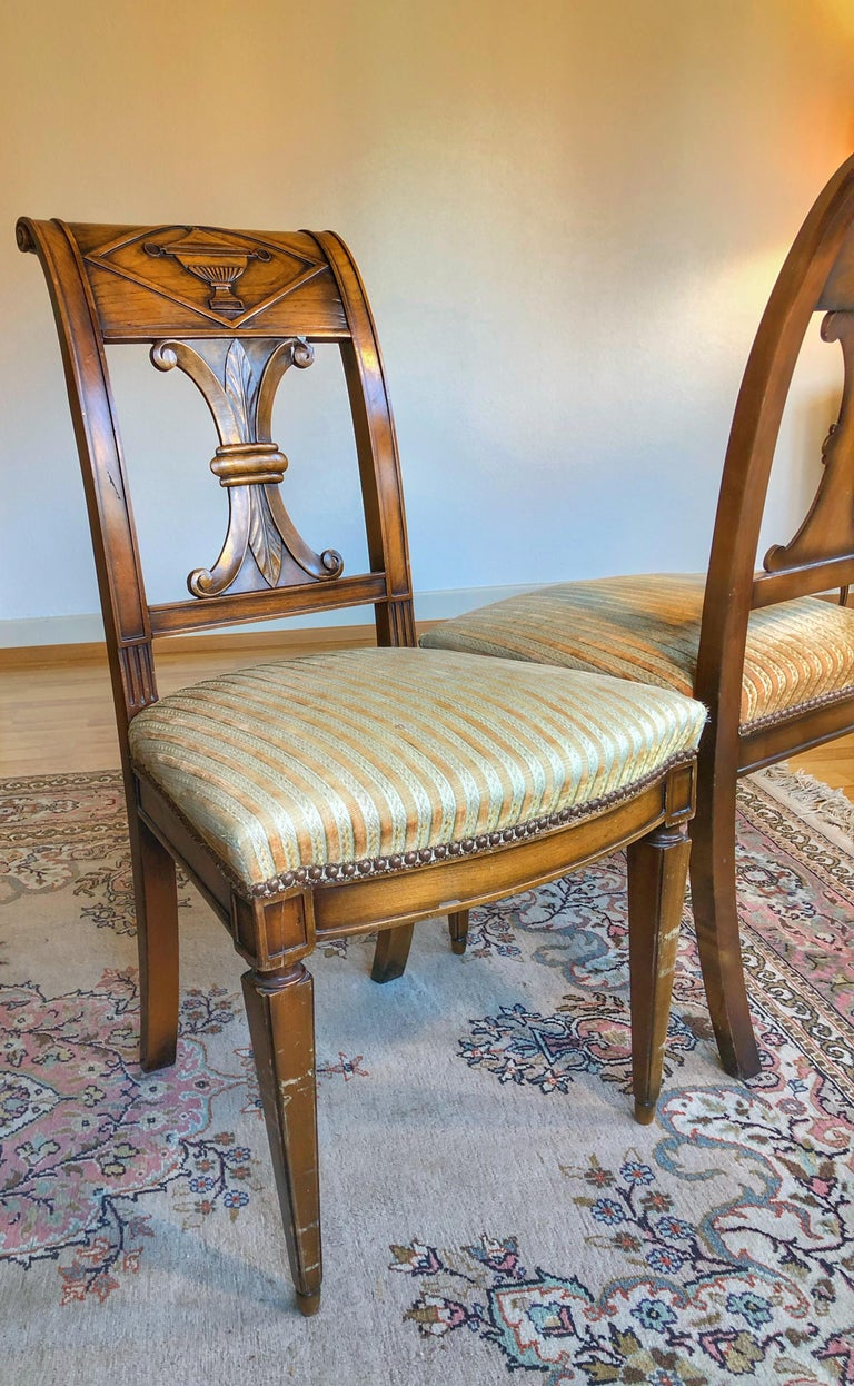 Early 19th Century SALE Pair of Wooden Neoclassical Empire Side Chairs Biedermeier ON SALE  For Sale