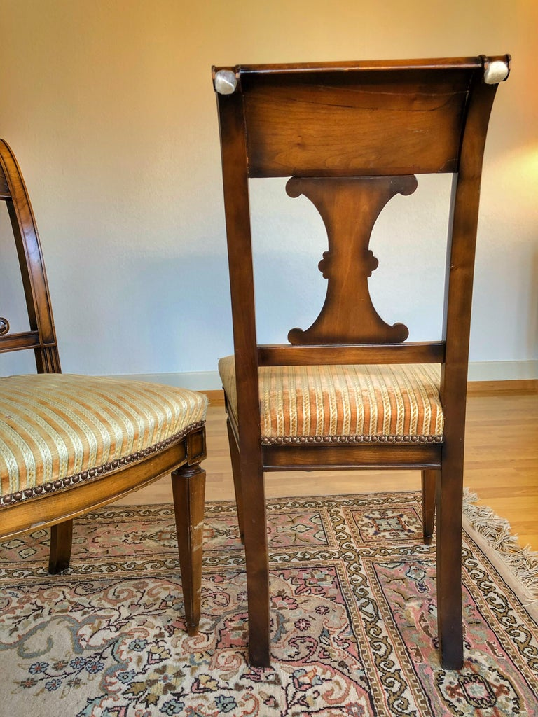 SALE Pair of Wooden Neoclassical Empire Side Chairs Biedermeier ON SALE  For Sale 1