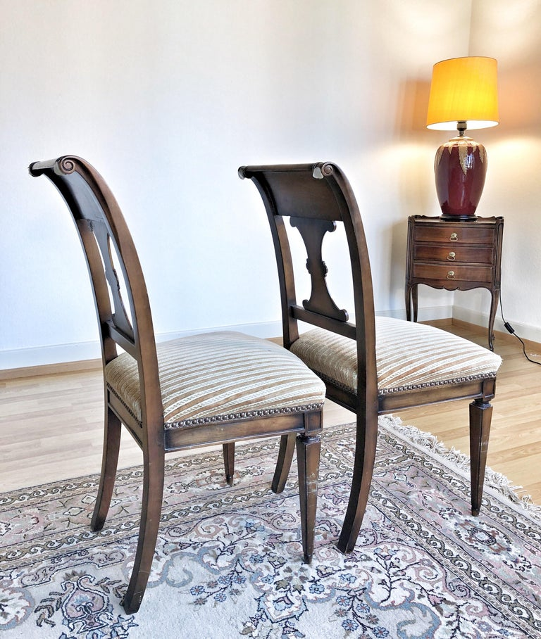 SALE Pair of Wooden Neoclassical Empire Side Chairs Biedermeier ON SALE  For Sale 3