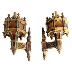 19th Century Pair of Wooden Wall Chandeliers