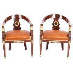 19th Century Pair Second Empire Mahogany Tub Arm Desk Chair