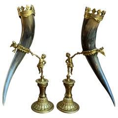 19th Century Pair Set English Trophy Hunt Horn Epergne Brass Renaissance Cherub