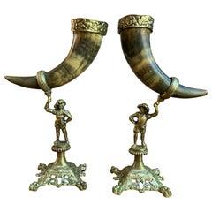 Pair of Set English Trophy Hunt Horn Epergne Brass Renaissance Soldier