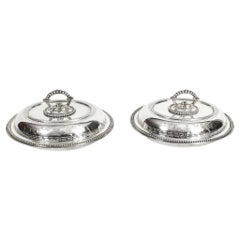 19th Century Pair of Silver Plated Entree Dishes with Greek Key