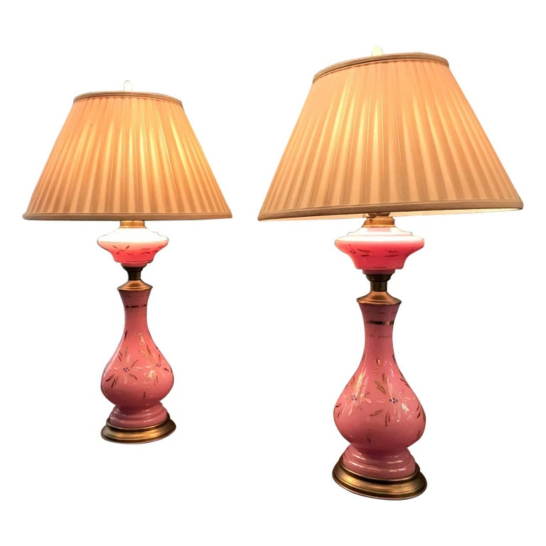 19th Century Pair Of Soft Pink Table Lamps Opaline Gl Vase Nightstand Lights