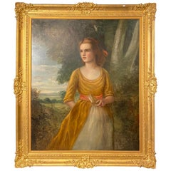 19th Century Palatial Oil on Canvas of a Young Beauty