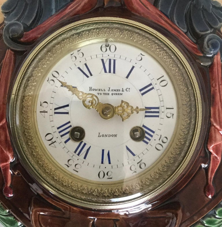 Hand-Painted Thomas Sargent Palissy Ware Majolica Wall Clock circa 1870 Japy Freres Movement For Sale