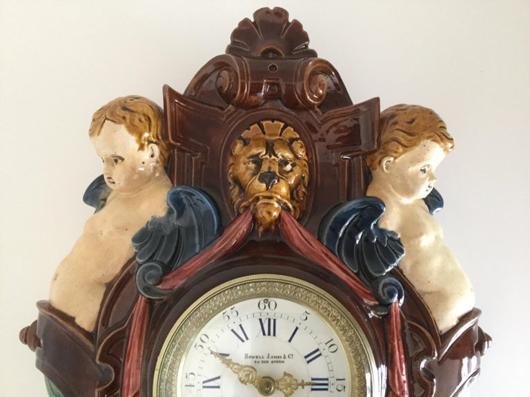 Thomas Sargent Palissy Ware Majolica Wall Clock circa 1870 Japy Freres Movement In Good Condition For Sale In Melbourne, Victoria