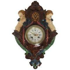 19th Century Palissy Ware Japy Freres Majolica Wall Clock, circa 1870